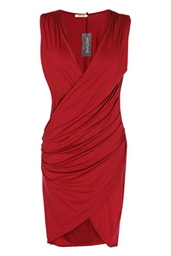 ANGVNS Women V Neck Sleeveless Cocktail Party Pleated Dress (XL, Red)