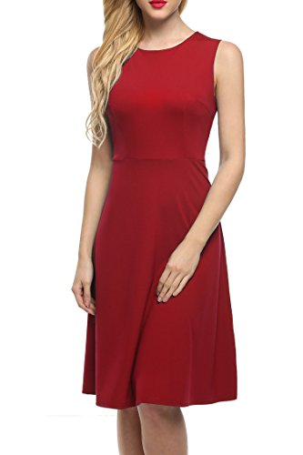 ANGVNS Women's Sleeveless Fit-And-Flare Dress for Party Cocktail Red L,Red,Large