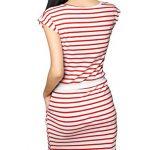 Allegra K Women Sleeveless Stripes Ribbed Waist Unlined Tunic Dress Red White S