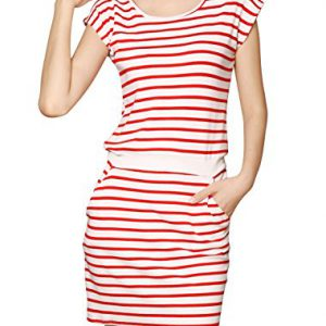 Allegra-K-Women-Sleeveless-Stripes-Ribbed-Waist-Unlined-Tunic-Dress-Red-White-S-0