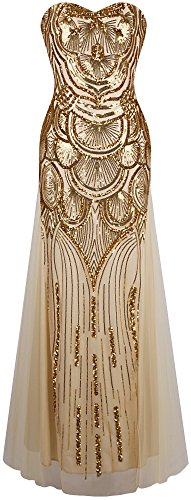 Angel-fashions Women's Sequin Strapless Sweetheart Mesh Lace up Banquet Dress XXLarge Gold