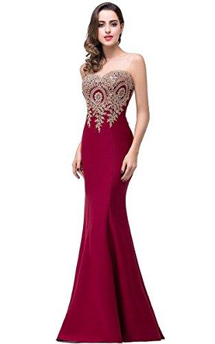 Babyonline Women's Sleeveless Appliques Lace Floor Length Prom Evening Dress, 10, Burgundy