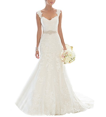 Beauty Bridal Elegant Off-Shoulder Crystal Lace Wedding Dresses for Bride 2016(4,White)