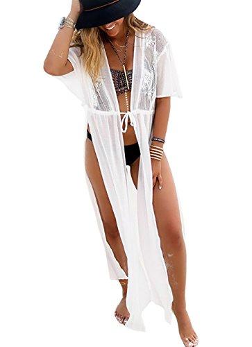 Bestyou Women's Crochet Lace Chiffon Kimono Cover up Dress Swimwear Beachwear (White) Free Size