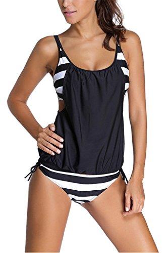 Dokotoo Womens Stripes Lined Up Double Up Tankini Top Bikini Swimwear,(US 10-12)L,Black