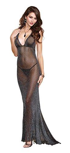 Dreamgirl Women's Lurex Halter Back Long Gown, Black, Large