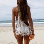EFINNY Women Lace Floral Crochet Beachwear Dress Bikini Swimsuit Cover up