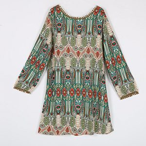 EFINNY Women's Casual Tribal Boho Babydoll Long T-shirt Mini Dress