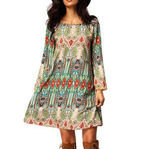 EFINNY-Womens-Casual-Tribal-Boho-Babydoll-Long-T-shirt-Mini-Dress-0