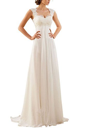 Erosebridal 2017 New Empire Lace Chiffon Wedding Dress Bridal Gown Size 14 Ivory