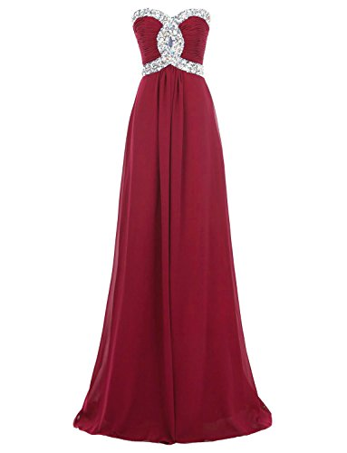 Erosebridal Long Prom Dress 2017 Chiffon Bridesmaid Dress Formal Gowns US 6 Burgundy