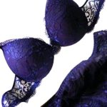 Etosell Women Sexy Deep V Lace Underwire Bra Set Push Up Bra Outfit Blue 36C