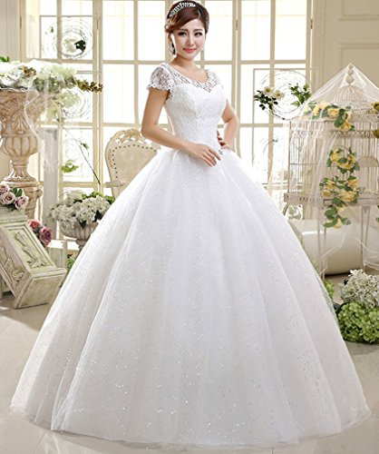 56c0e552e5d8 Eyekepper Double Shoulder Floor Length Bridal Gown Wedding Dress Custom Size