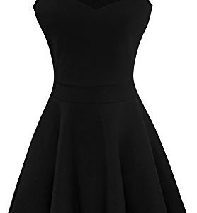 Heloise-Womens-A-Line-Sleeveless-Pleated-Little-Black-Cocktail-Party-Dress-M-Black-0