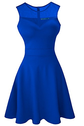 Heloise Women's A-Line Sleeveless Pleated Little Blue Cocktail Party Dress (M, Blue)