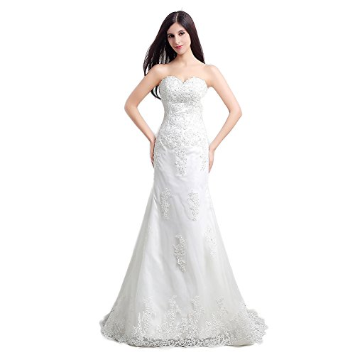 Ikerenwedding Women's Sweetheart Lace Applique Sweep Train Mermaid Bridal Gown White US16