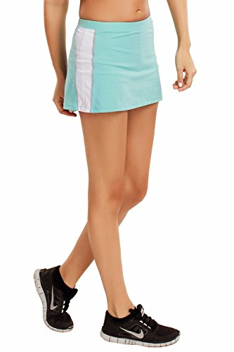 SYROKAN Women's Athletic Performance Skort With Built In Shorts Sport Skirt Light Blue S