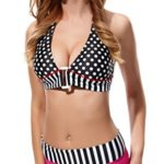 Polka Dots Padded Bra Swimwear Top Red Line Bikini