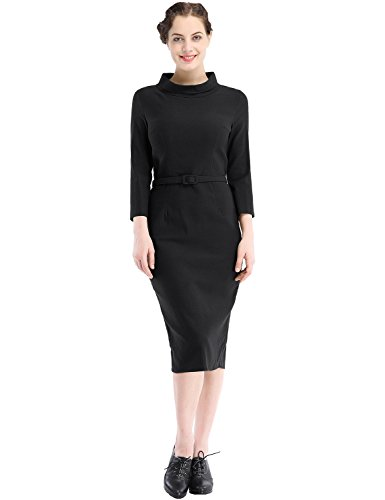 MUXXN Women's 1950s Vintage 3/4 Sleeve Elegant Collar Cocktail Evening Dress (XL, Black)