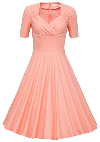 MUXXN Women's 50s Retro Solid Patchwork Pleated Swing Dress (L, Pink)