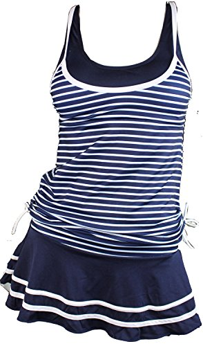 MiYang Women's Tankini Striped Vintage Swim Dress (Deep Blue Medium)