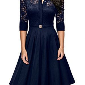 Missmay-Womens-Vintage-1950s-Style-34-Sleeve-Black-Lace-Flare-A-line-Dress-Medium-Royal-Blue-0