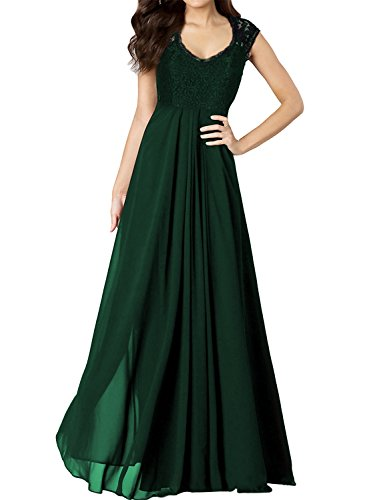 Miusol Women's Casual Deep- V Neck Sleeveless Vintage Maxi Black Dress (Small, Green)