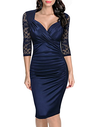 Miusol Women's Deep-V Neck Ruffles Floral Lace Fitted Retro Evening Pencil Dress, Large, Navy Blue