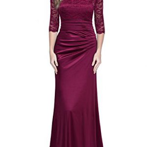 Miusol-Womens-Retro-Floral-Lace-Vintage-23-Sleeve-Slim-Ruched-Wedding-Maxi-Dress-Medium-Wine-Red-0