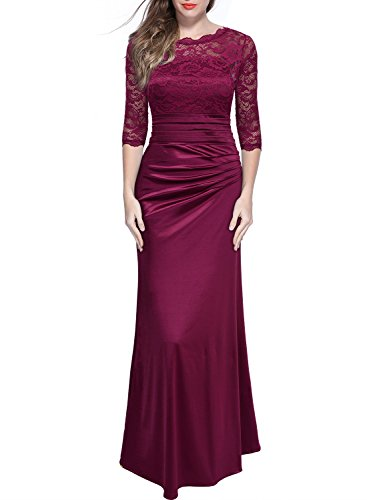 Miusol Women's Retro Floral Lace Vintage 2/3 Sleeve Slim Ruched Wedding Maxi Dress Wine Red Large