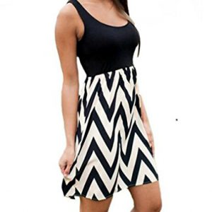 OURS-Womens-Multi-Stripe-Chevron-Print-Tank-Casual-Summer-Dress-L-Black-0