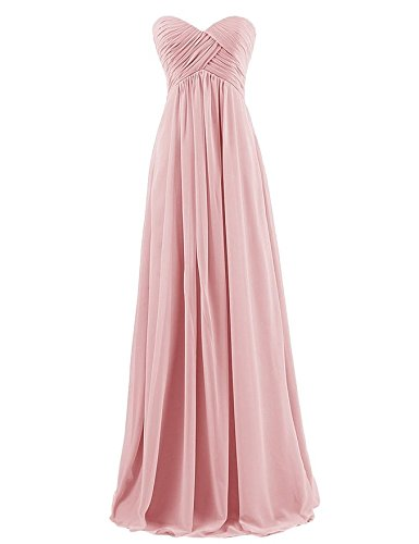 Ouman Sweetheart Bridesmaid Chiffon Prom Dress Long Evening Gown Blush S
