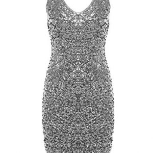 PrettyGuide-Women-Sexy-Deep-V-Neck-Sequin-Glitter-Bodycon-Stretchy-Mini-Party-Dress-Silver-M-0