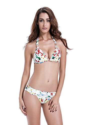 Reteron Women's Push Up Skirted Swimsuit Swimwear (S6 34B, Light Floral)