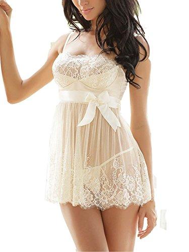 Ruzishun Women's Sexy Lingerie White Lace Nightwear Perspective Sleepwear Underwear (XXL)