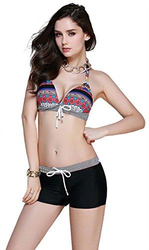 Two-piece Bohemia Triangle Halter with Shorts Bikini Swimsuit