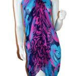 SCARF_TRADINGINC® Rose Chiffon Pareo Scarf Wrap Shawl Sarong Swimsuite Cover-up (Rose Blue)