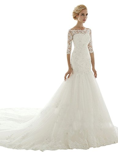 Sarahbridal Women's Mermaid Chapel Train Wedding Dress Bridal Gown US4 Ivory