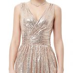 Bridal Floor Length Sequins Evening Formal Ball Gown Rose Gold Size 4 KK199