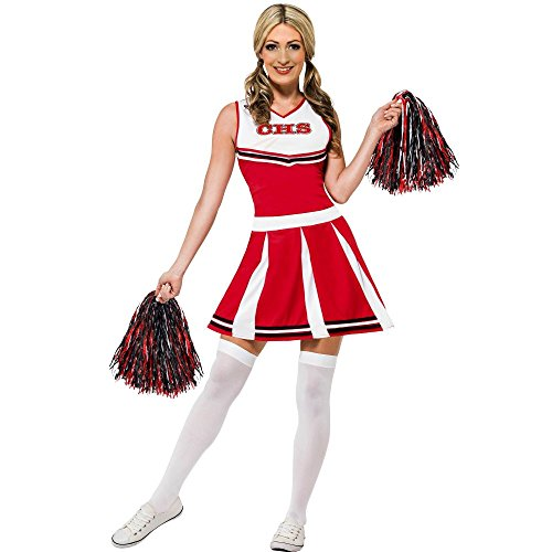 Smiffy's Women's Cheerleader Costume with Dress and Pom Poms, Red/White, Small