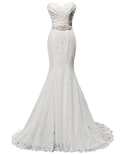 Solovedress Women's Lace Wedding Dress Mermaid Evening Dress Bridal Gown with Sash (US 16W, White)