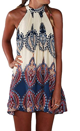 Summer Sleeveless Halter Neck Keyhole Back Swing Beachwear Mini Sundress M