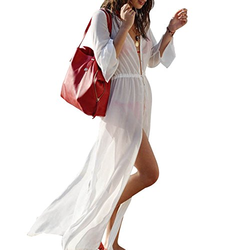 Tenflyer Women Sexy Long Slit Beach Bikini Cover-up Dress