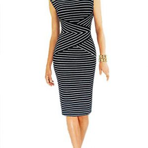 Viwenni-Womens-Summer-Striped-Sleeveless-Wear-to-Work-Casual-Party-Pencil-DressBlackLarge-0