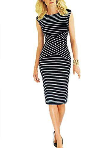 Viwenni Women's Summer Striped Sleeveless Wear to Work Casual Party Pencil Dress,Black,Large