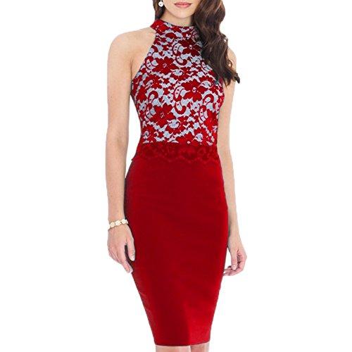 WOOSEA Women's Elegant Floral Lace Sleeveless Retro Bridesmaid Prom Dress (Large , Red)