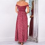 Women Dresses Evening for Long Summer and Split Floral Dresses From Koobea Red X-Large