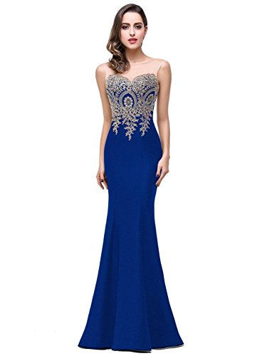 Women's Lace Applique Long Formal Mermaid Evening Prom Dresses,Royal Blue,10