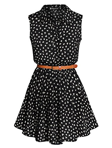 Women Daisy Print Sleeveless Unlined Belted Shirt Dress