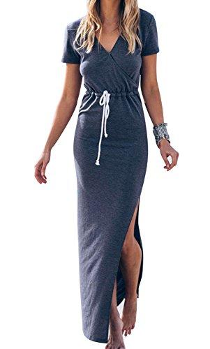 Oyan Womens Casual V Neck Side Split Drawstring Beach Long Bodycon Dress